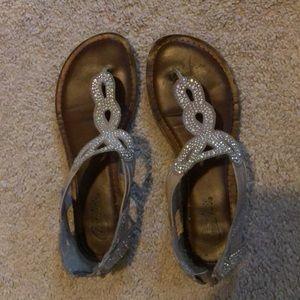 Nude/ tan rhinestone sandals